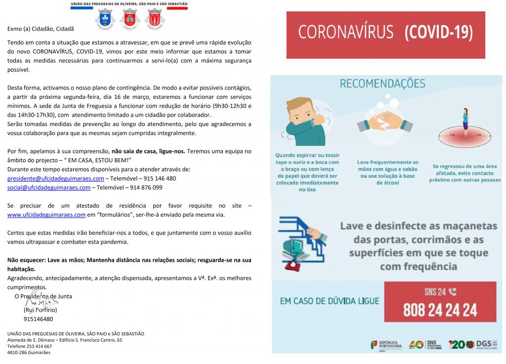CORONAVÍRUS COVID-19  EM CASA ESTOU BEM UF CIDADE GUIMARÃES OLIVEIRA, SÃO PAIO E SÃO SEBASTIÃO